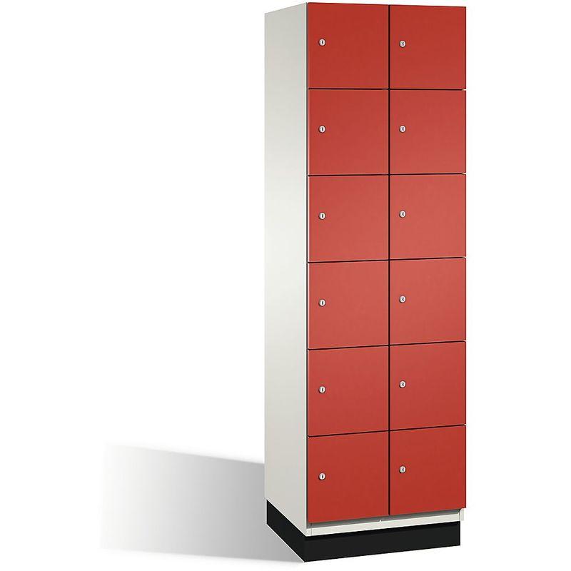 Eurokraft - CP Armoire à casiers CAMBIO avec portes en acier - 12 casiers, largeur 600 mm - corps blanc pur/porte rouge feu - Coloris corps: blanc