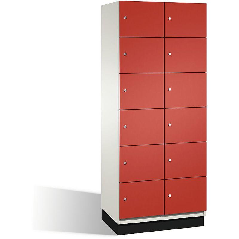 Eurokraft - CP Armoire à casiers CAMBIO avec portes en acier - 12 casiers, largeur 800 mm - corps blanc pur/porte rouge feu - Coloris corps: blanc