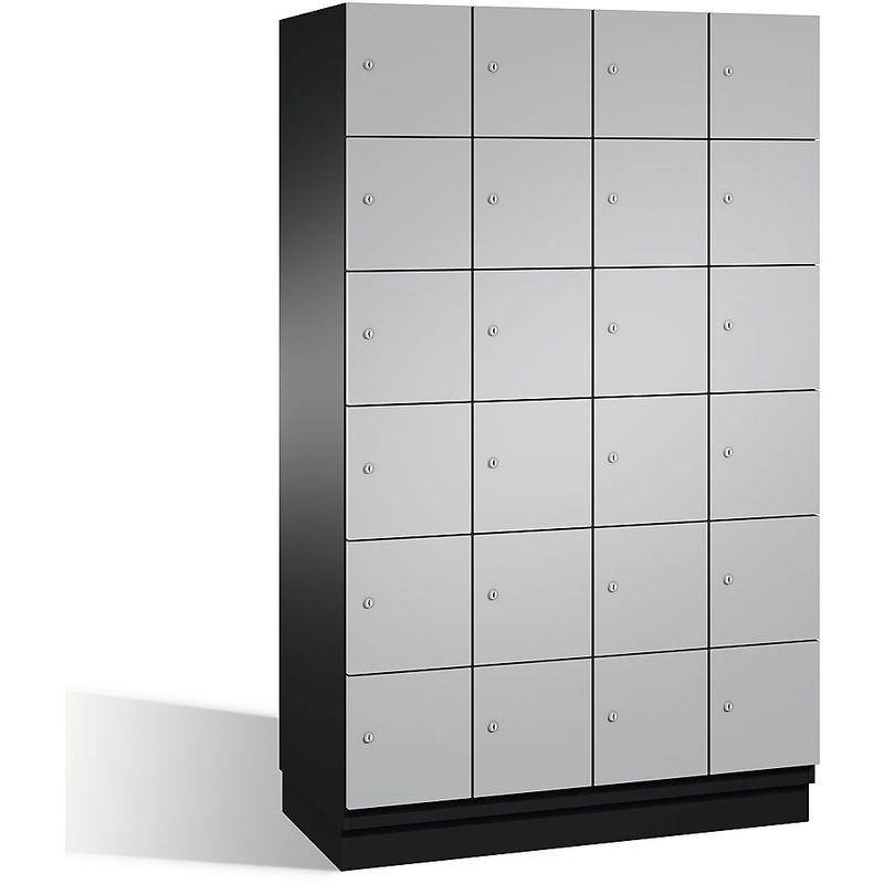 Eurokraft - CP Armoire à casiers CAMBIO avec portes en acier - 24 casiers, largeur 1200 mm - corps gris noir/porte aluminium - Coloris corps: