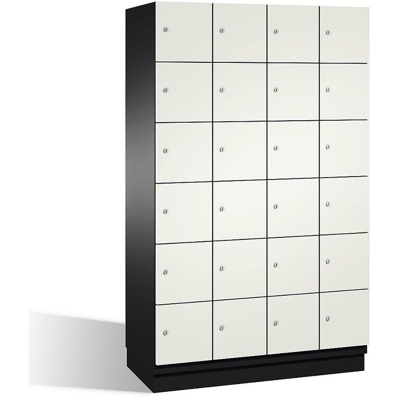 Eurokraft - CP Armoire à casiers CAMBIO avec portes en acier - 24 casiers, largeur 1200 mm - corps gris noir/porte blanc pur - Coloris corps: