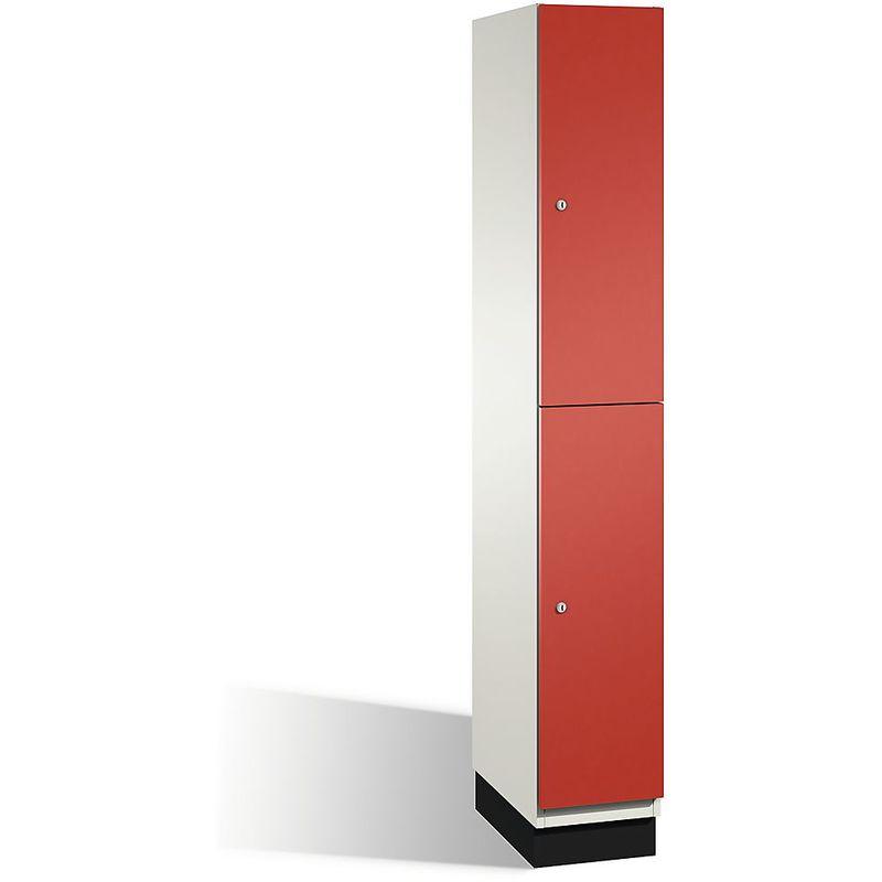 Certeo - CP Armoire à casiers CAMBIO avec portes en HPL et tringle - 2 casiers - corps blanc pur/porte rouge feu, largeur 300 mm - Coloris corps: