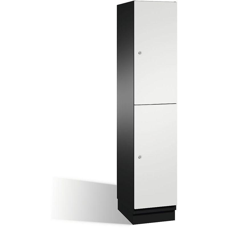 CP Armoire à casiers CAMBIO avec portes en HPL et tringle - 2 casiers - corps gris noir/porte gris clair, largeur 400 mm - Coloris corps: noir-gris