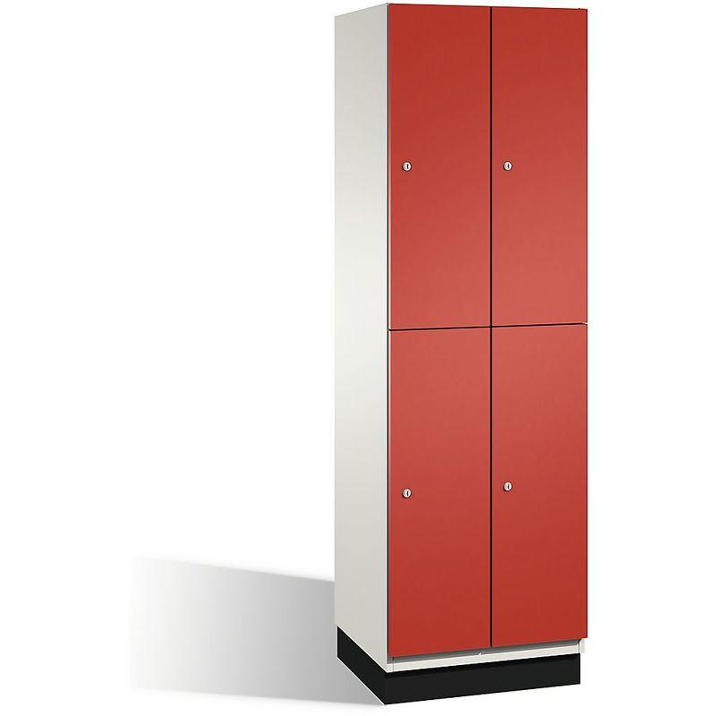 Certeo - CP Armoire à casiers CAMBIO avec portes en HPL et tringle - 4 casiers - corps blanc pur/porte rouge feu, largeur 600 mm - Coloris corps:
