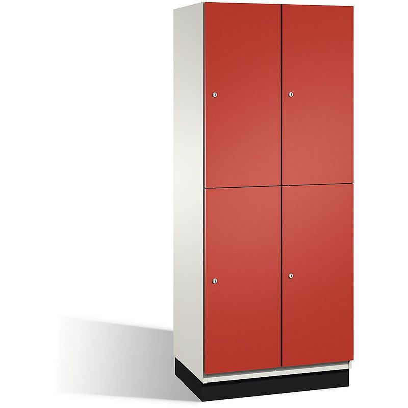 CP Armoire à casiers CAMBIO avec portes en HPL et tringle - 4 casiers - corps blanc pur/porte rouge feu, largeur 800 mm - Coloris corps: blanc pur