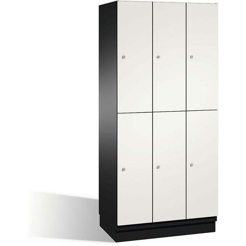 CP Armoire à casiers CAMBIO avec portes en HPL et tringle - 6 casiers - corps gris noir/porte blanc pur, largeur 900 mm - Coloris corps: noir-gris