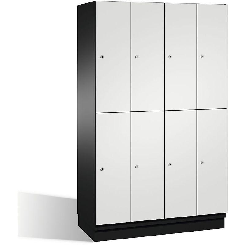 Certeo - CP Armoire à casiers CAMBIO avec portes en HPL et tringle - 8 casiers - corps gris noir/porte gris clair - Coloris corps: noir-gris RAL 7021