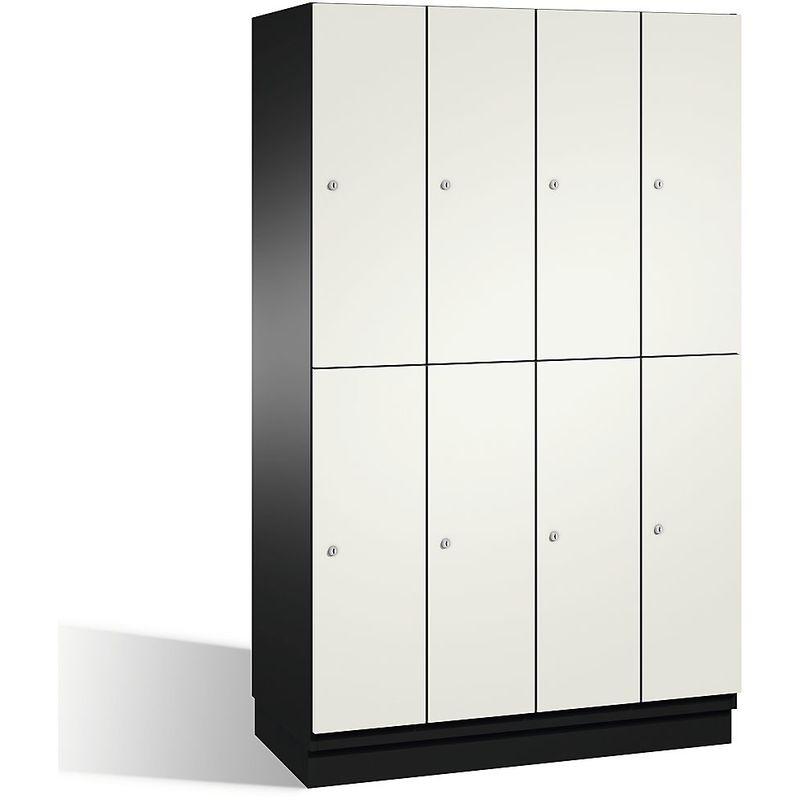 Certeo - CP Armoire à casiers CAMBIO avec portes en HPL et tringle - 8 casiers - corps gris noir/porte blanc pur - Coloris corps: noir-gris RAL 7021