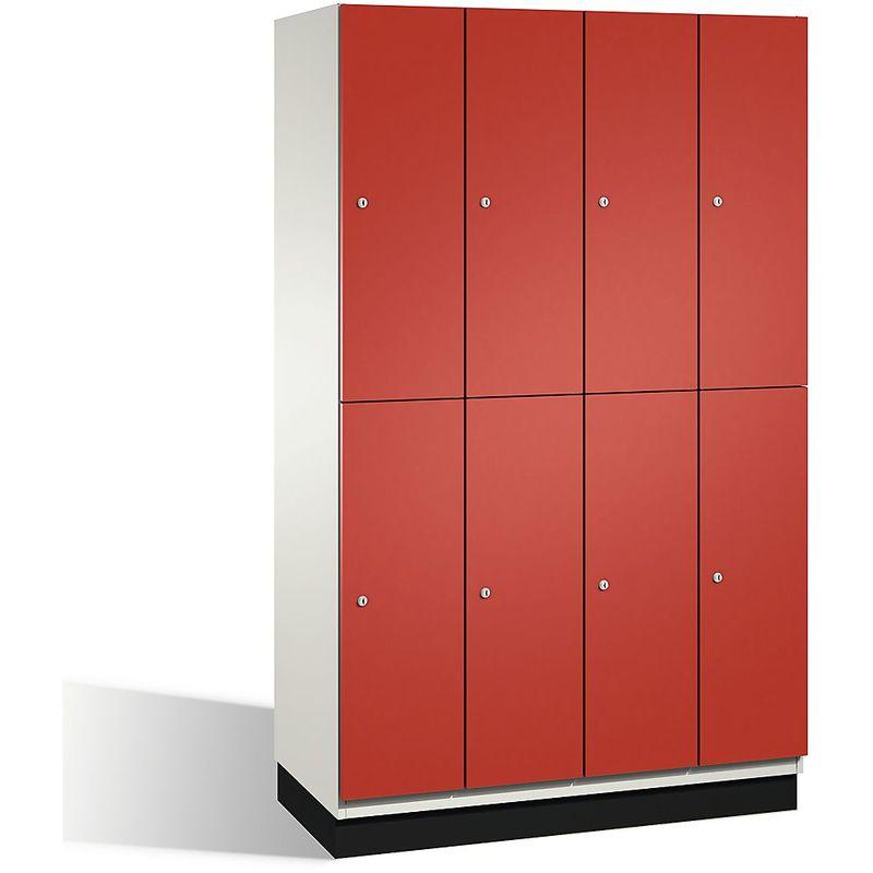 Certeo - CP Armoire à casiers CAMBIO avec portes en HPL et tringle - 8 casiers - corps blanc pur/porte rouge feu - Coloris corps: blanc pur RAL 9010