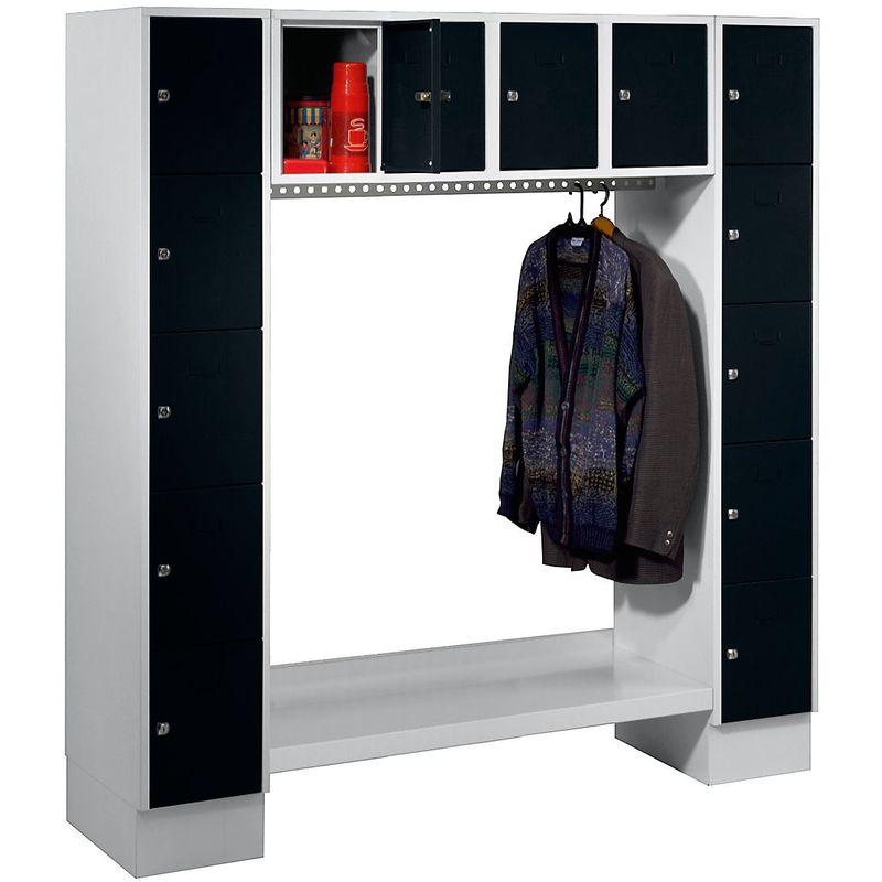 Certeo - Wolf Vestiaire, ouvert - h x l h.t. 1850 x 1800 mm, 14 casiers - noir profond RAL 9005 - Coloris des portes: noir profond RAL 9005