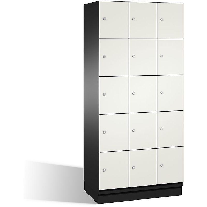 Certeo - CP Armoire à casiers CAMBIO avec portes en HPL - 15 casiers - corps gris noir/porte blanche, largeur 900 mm - Coloris corps: noir-gris RAL