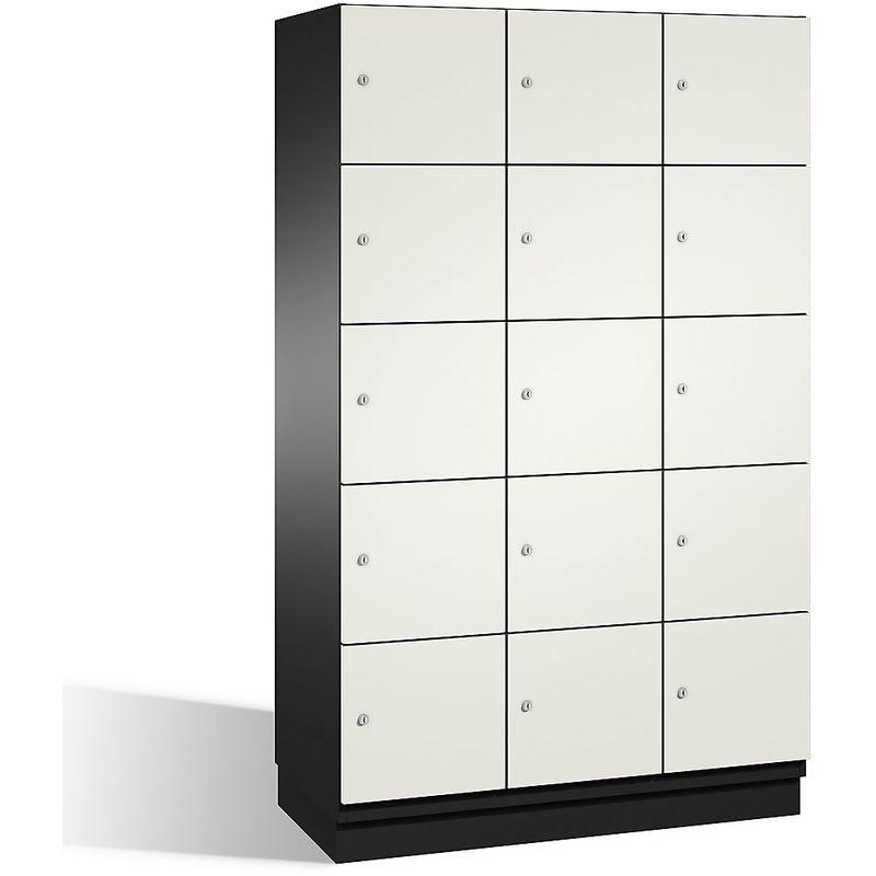 CP Armoire à casiers CAMBIO avec portes en HPL - 15 casiers - corps gris noir/porte blanche, largeur 1200 mm - Coloris corps: noir-gris RAL 7021