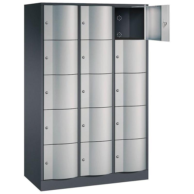 Certeo - CP Armoire à casiers verrouillables - h x l x p 1950 x 1150 x 540 mm, 15 casiers - gris noir RAL 7021 / aluminium RAL - Coloris corps: