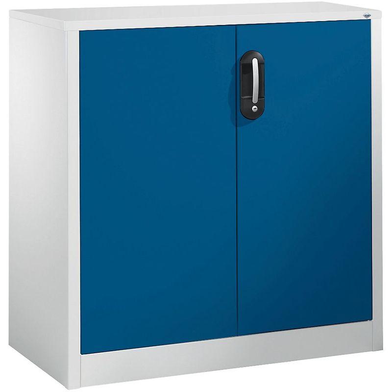 CP Armoire basse ACURADO, 2 hauteurs de classeurs, h x l x p 1000 x 930 x 500 mm gris clair / bleu gentiane - Coloris corps: gris clair RAL 7035