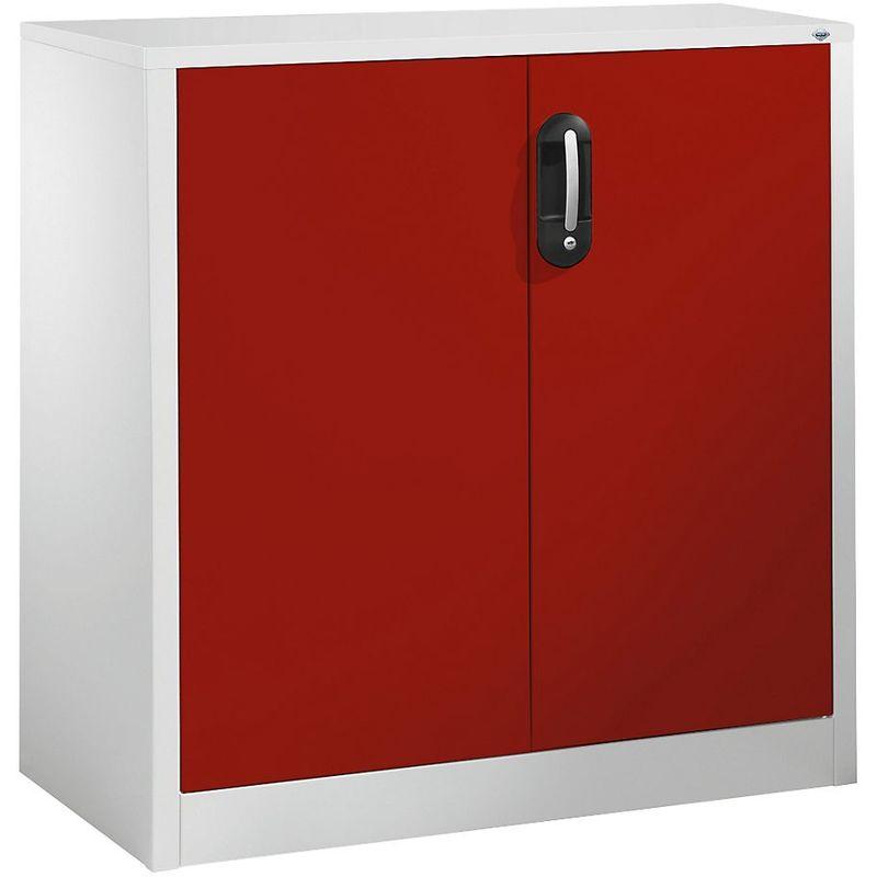 Certeo - CP Armoire basse ACURADO, 2 hauteurs de classeurs, h x l x p 1000 x 930 x 500 mm gris clair / rouge rubis - Coloris corps: gris clair RAL