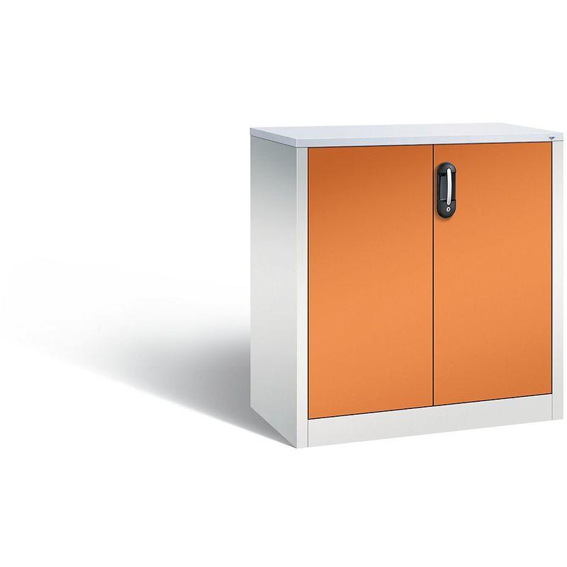 Certeo - CP Armoire basse ACURADO, 2 hauteurs de classeurs, h x l x p 1000 x 930 x 500 mm gris clair / orange jaune - Coloris corps: gris clair RAL