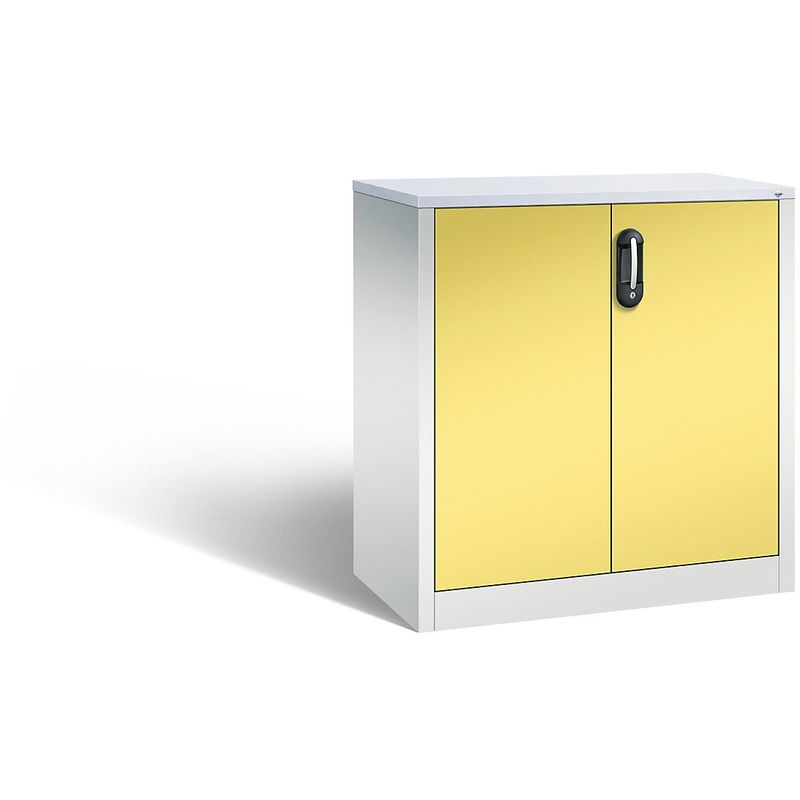 Certeo - CP Armoire basse ACURADO, 2 hauteurs de classeurs, h x l x p 1000 x 930 x 500 mm gris clair / jaune soufre - Coloris corps: gris clair RAL