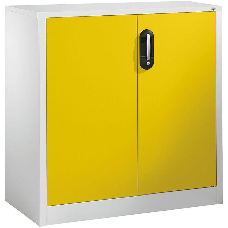 Certeo - CP Armoire basse ACURADO, 2 hauteurs de classeurs, h x l x p 1000 x 930 x 500 mm gris clair / jaune soleil - Coloris corps: gris clair RAL