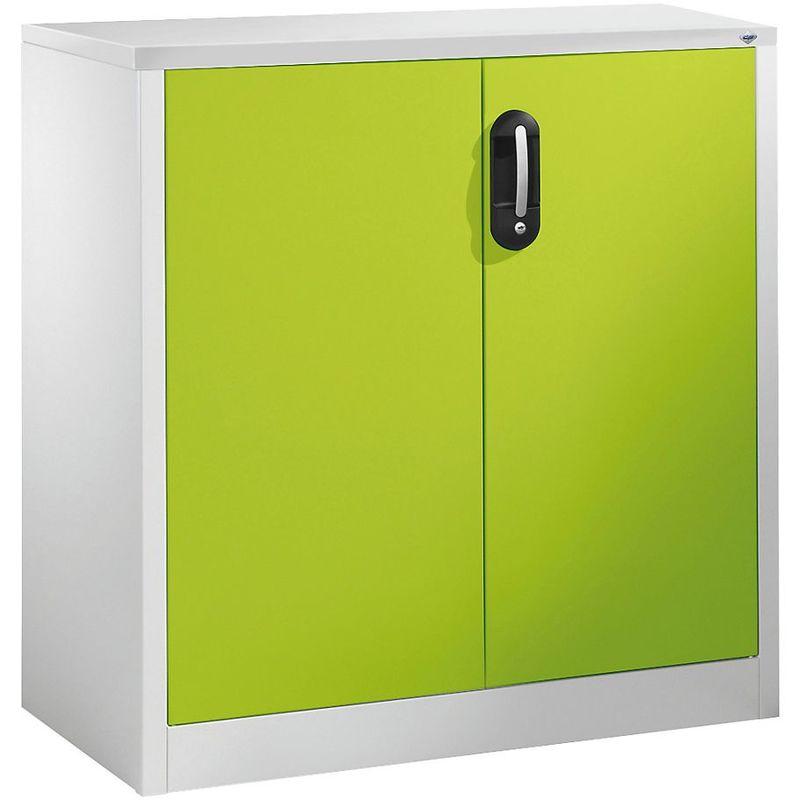 Certeo - CP Armoire basse ACURADO, 2 hauteurs de classeurs, h x l x p 1000 x 930 x 500 mm gris clair / vert viridin - Coloris corps: gris clair RAL