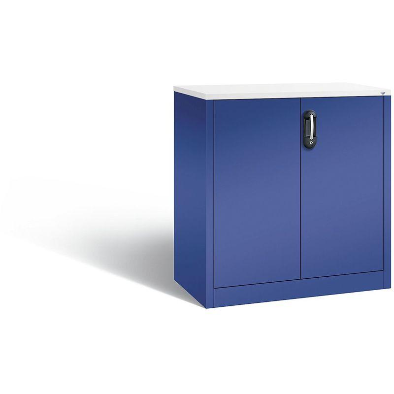 Certeo - CP Armoire basse ACURADO, 2 hauteurs de classeurs, h x l x p 1000 x 930 x 500 mm vert lapis-lazuli / vert lapis-lazuli - Coloris corps: bleu