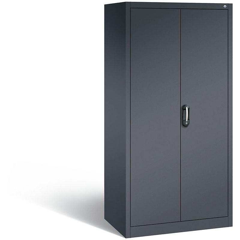 Certeo - CP Armoire de bureau ACURADO, l x p 930 x 600 mm gris noir / gris noir - Coloris corps: noir-gris RAL 7021