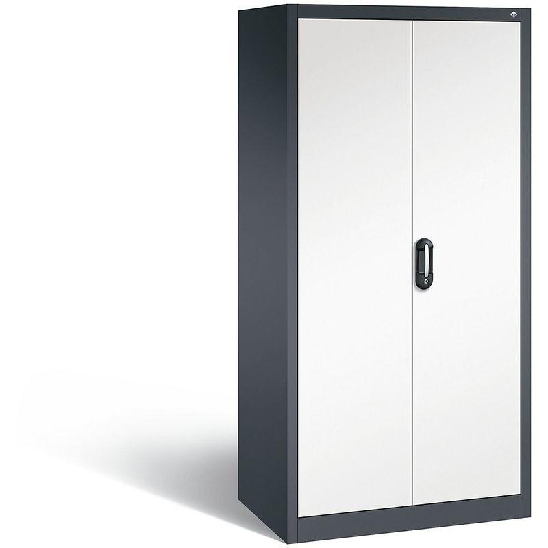 Certeo - CP Armoire de bureau ACURADO, l x p 930 x 600 mm gris noir / blanc pur - Coloris corps: noir-gris RAL 7021