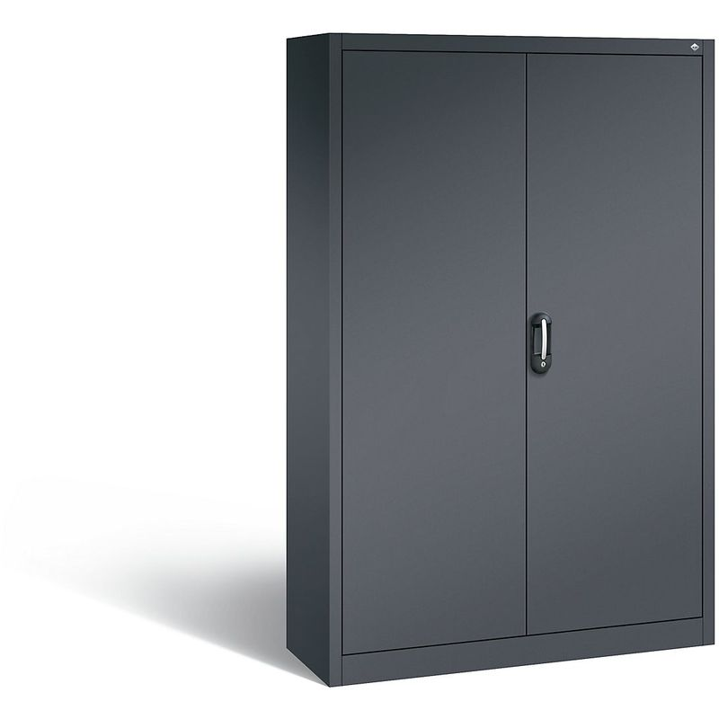 Certeo - CP Armoire de bureau ACURADO, l x p 1200 x 400 mm gris noir / gris noir - Coloris corps: noir-gris RAL 7021