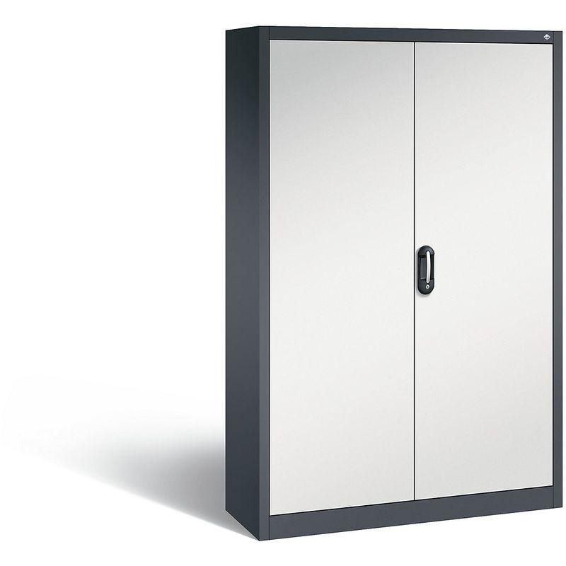 Certeo - CP Armoire de bureau ACURADO, l x p 1200 x 400 mm gris noir / gris clair - Coloris corps: noir-gris RAL 7021