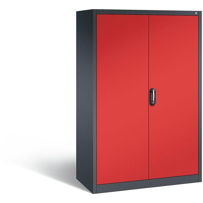 Certeo - CP Armoire de bureau ACURADO, l x p 1200 x 600 mm gris noir / rouge feu - Coloris corps: noir-gris RAL 7021