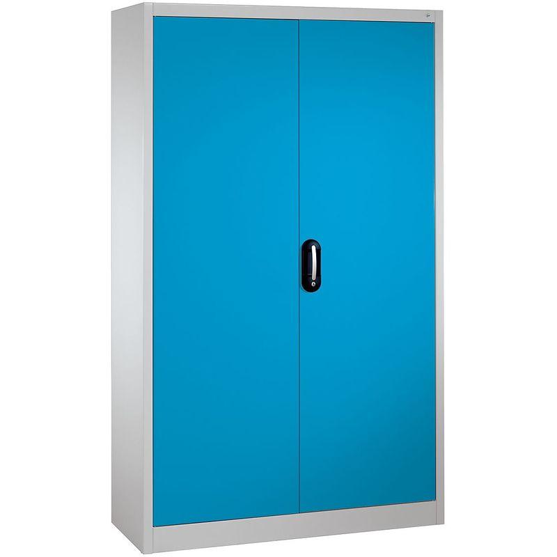 CP Armoire métallique de bureau à portes battantes - h x l 1950 x 1200 mm - profondeur 500 mm, gris / bleu - Coloris corps: gris clair RAL 7035