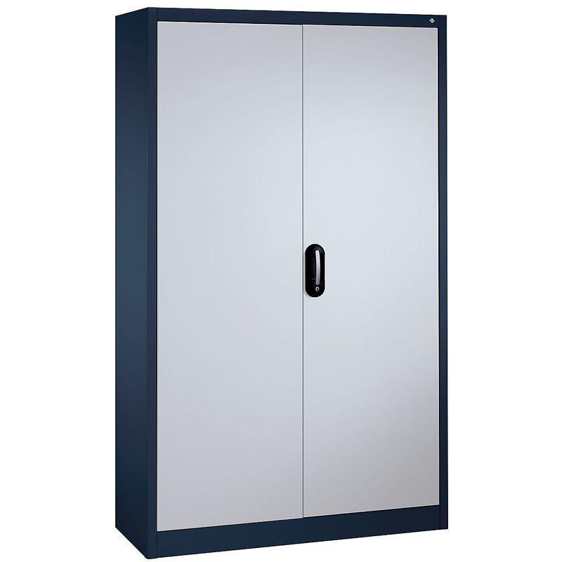 CP Armoire métallique de bureau à portes battantes - h x l 1950 x 1200 mm - profondeur 500 mm, gris / aluminium - Coloris corps: noir-gris RAL 7021
