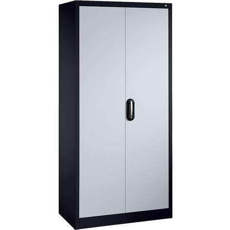 CP Armoire métallique de bureau à portes battantes - h x l 1950 x 930 mm - profondeur 500 mm, gris / aluminium