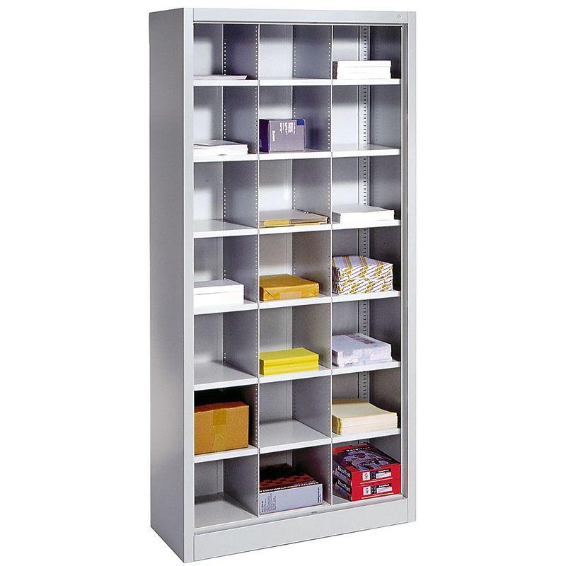 CP Rayonnage de bureau en acier - avec 21 casiers - h x l x p 1950 x 930 x 400 mm - Coloris corps: gris Coloris tablette: gris clair