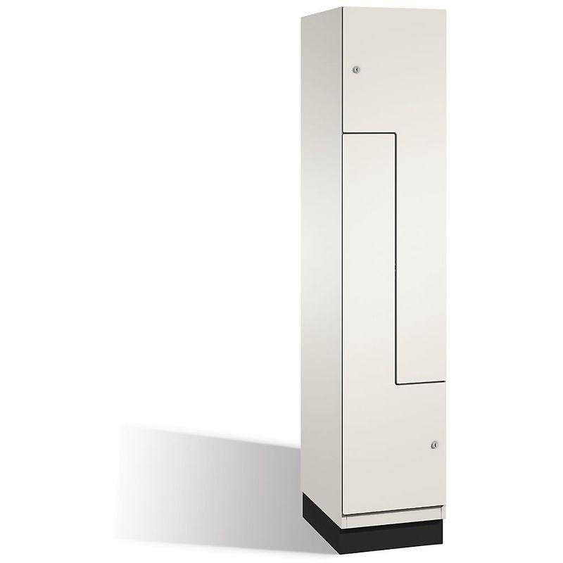 CP Vestiaire CAMBIO à portes en Z - 2 compartiments, largeur 400 mm - corps blanc pur/porte blanche - Coloris corps: blanc pur RAL 9010