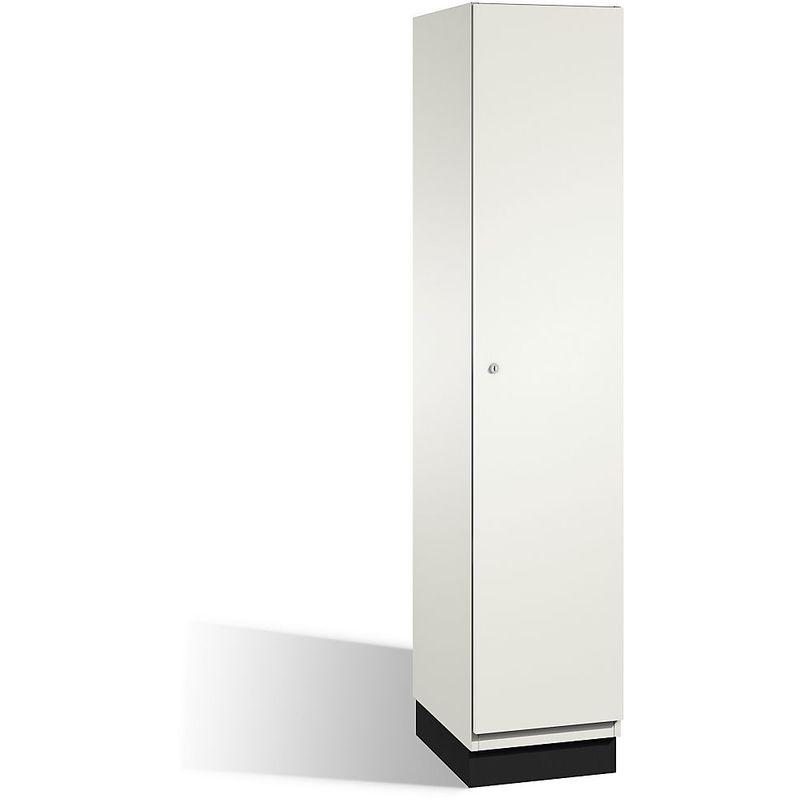 CP Vestiaire CAMBIO avec portes en HPL - 1 compartiment - corps blanc pur/porte blanche, largeur 400 mm - Coloris corps: blanc pur RAL 9010