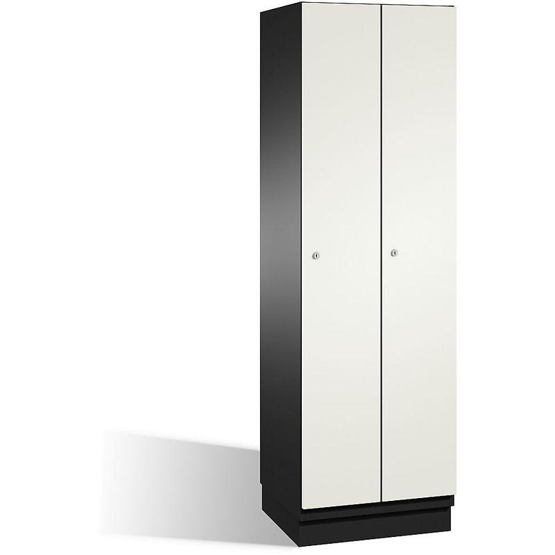 CP Vestiaire CAMBIO avec portes en HPL - 2 compartiments - corps gris noir/porte blanche, largeur 600 mm - Coloris corps: noir-gris RAL 7021