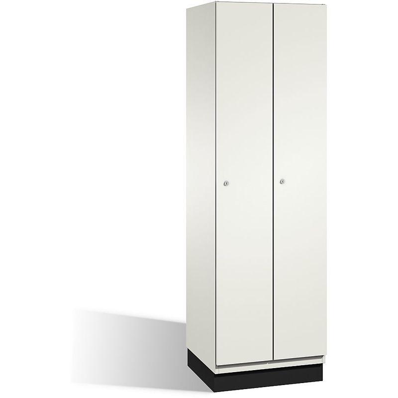 CP Vestiaire CAMBIO avec portes en HPL - 2 compartiments - corps blanc pur/porte blanche, largeur 600 mm - Coloris corps: blanc pur RAL 9010