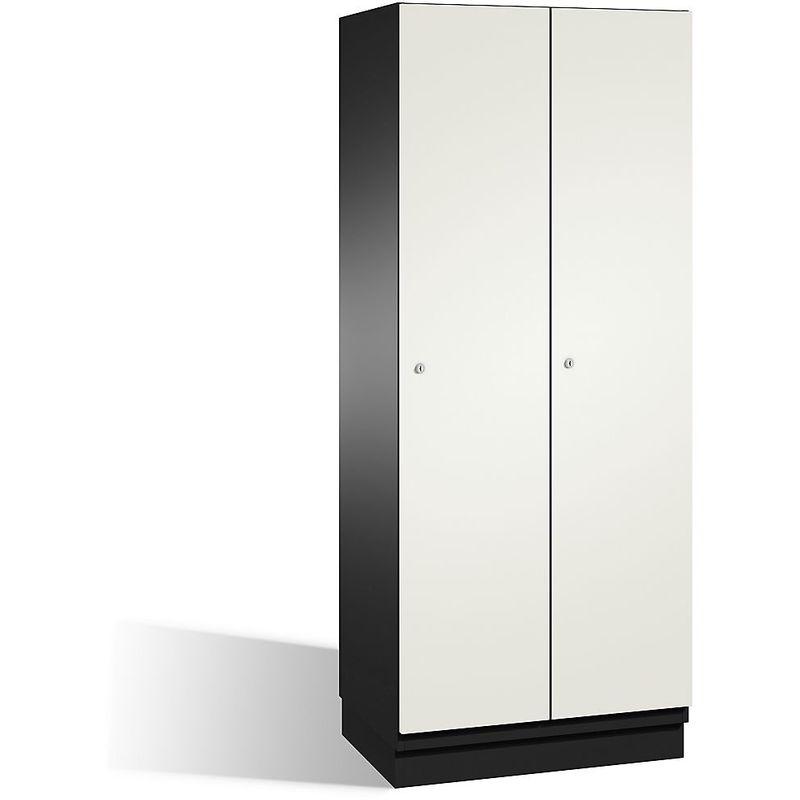 CP Vestiaire CAMBIO avec portes en HPL - 2 compartiments - corps gris noir/porte blanche, largeur 800 mm - Coloris corps: noir-gris RAL 7021
