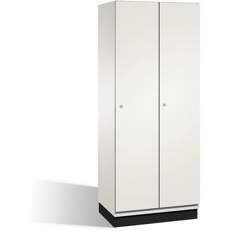 CP Vestiaire CAMBIO avec portes en HPL - 2 compartiments - corps blanc pur/porte blanche, largeur 800 mm - Coloris corps: blanc pur RAL 9010