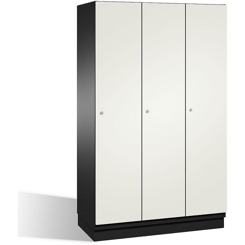 CP Vestiaire CAMBIO avec portes en HPL - 3 compartiments - corps gris noir/porte blanche, largeur 1200 mm - Coloris corps: noir-gris RAL 7021