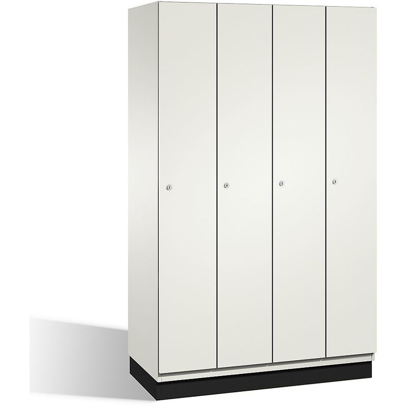 CP Vestiaire CAMBIO avec portes en HPL - 4 compartiments - corps blanc pur/porte blanche, largeur 1200 mm - Coloris corps: blanc pur RAL 9010