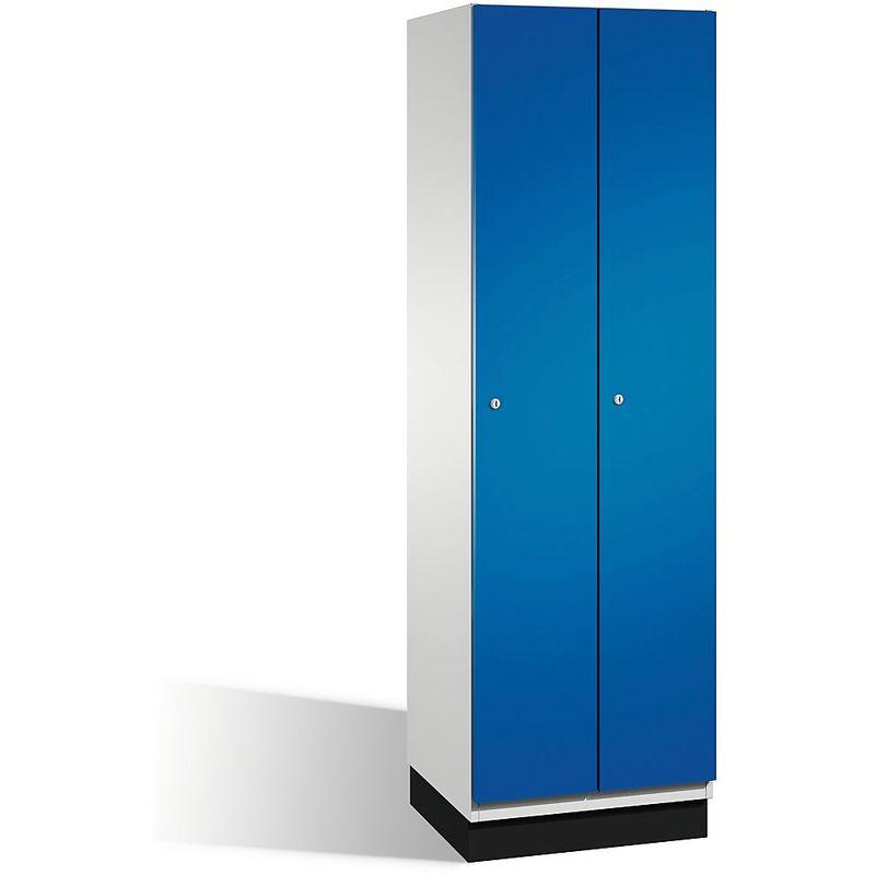 CP Vestiaire CAMBIO avec portes en acier - 2 compartiments, largeur 600 mm - corps gris clair/porte bleu gentiane - Coloris corps: gris clair RAL 7035