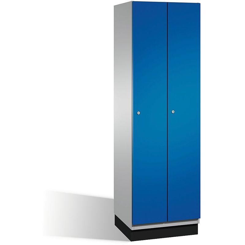 CP Vestiaire CAMBIO avec portes en acier - 2 compartiments, largeur 600 mm - corps aluminium/porte bleu gentiane - Coloris corps: aluminium blanc RAL