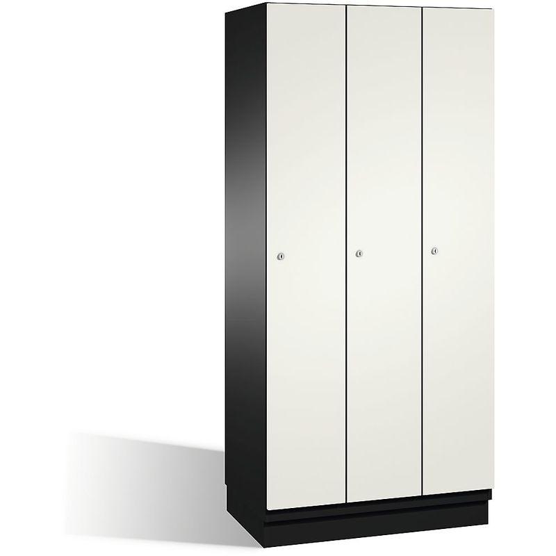 CP Vestiaire CAMBIO avec portes en acier - 3 compartiments, largeur 900 mm - corps gris noir/porte blanc pur - Coloris corps: noir-gris RAL 7021