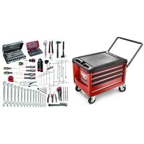 CR4.MO1 Sélection de 118 outils pour la maintenance des 2 roues et motos plus coffre roulant 2108.02