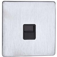 Crabtree Master Telephone Socket Stainless Steel Effect with Black Insert