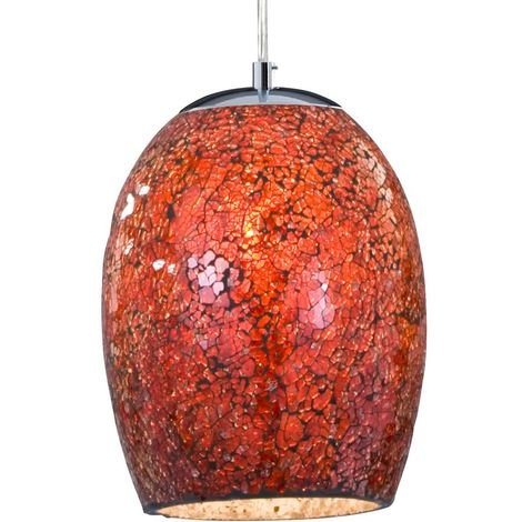 CRACKLE - 1 LIGHT PENDANT RED MOSAIC GLASS & SATIN SILVER SUSPENSION