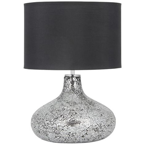 Crackle Silver Mirror Mosaic Table Lamp Black Cylinder Shade