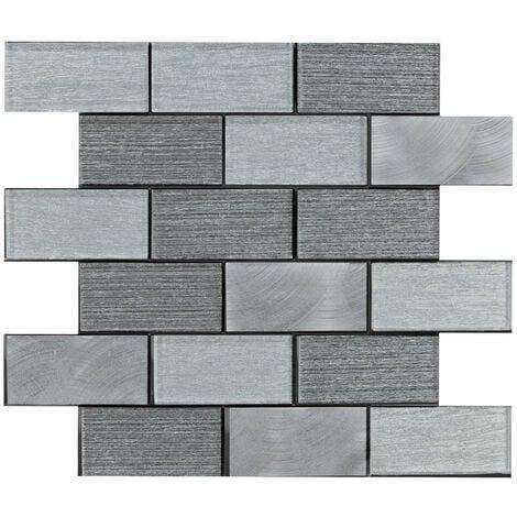 Craft Portland Grey Brick 35cm x 30cm Mosaic Tile Sheet