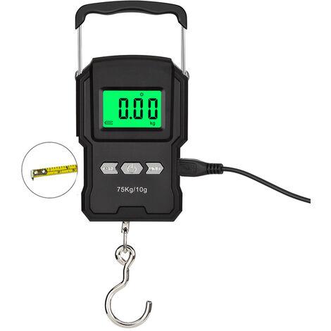 ¨¦cran LCD ¨¤ balance ¨¦lectronique portable rechargeable WeiHeng avec ruban ¨¤ mesurer, longueur de mesure 75 kg / 10 g, batterie au lithium int¨¦gr¨¦e de haute pr¨¦cision