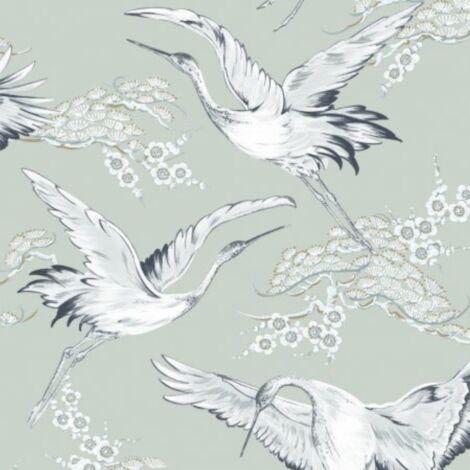 Crane Blue Wallpaper Boutique Birds White Teal Metallic Paste The Wall